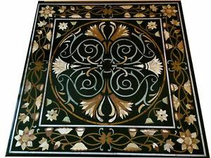 Black Marble Dining Table Top Pietra Dura Stone Handmade Inlay Arts Decors B409