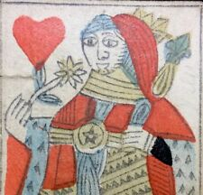 18th Century Rare Queen of Hearts Artisan French Playing Cards Woodcut Single