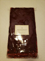 "Pottery Barn Burgundy Red Velvet Beaded Table Runner 16""x108"" HOLIDAY"
