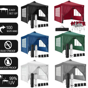Gazebo 3x3m Waterproof Pop up Marquee Outdoor Event Shelter Party Tent W/4 Sides