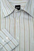 Hugo Boss Men's Light Gray & Beige Woven Stripe Cotton Casual Shirt L Large