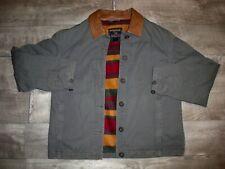 Woolrich Blanket Lined Loden Leather Work Chore Coat Jacket Women's Size Medium