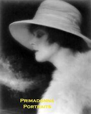 THEDA BARA 8X10 Lab Photo B&W Fur Coat Hat VAMP Side View Lovely Silent Film