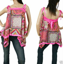Polyester Spaghetti Strap Sleeve Hand-wash Only Casual Tops & Blouses for Women