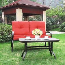 2pc Outdoor Furniture Patio Set Wrought Iron Coffee Table Loveseat Cushion  Sofa
