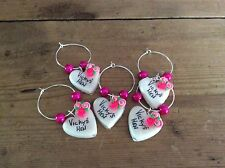 hen party accessories 6 Wine Glass Charms Personalised Handmade Party Wedding