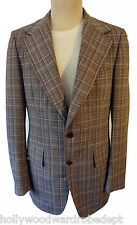 Vtg men Polyester 39L PLAID leisure blazer brown fitted slim 38 mad pimp golf