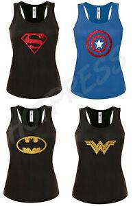 Womens Glitter T shirt WW Batman Barbie superman captain america Vest Tank Top
