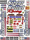 SILVER BULLET Sticker Gang SHEET 12 -R/C MODEL Decal 1/12 -1/10-DIE CUT -NASCAR
