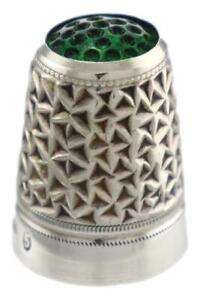 Antique Sterling Silver Thimble 800 Green Glass Top Gilt Interior c1900