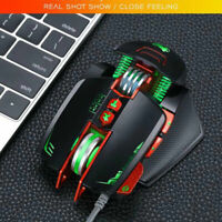 V9 8 buttons 3200 DPI Adjustable wired Gaming mouse RGB LED Backlight Mice Black