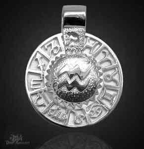 Sternzeichen Wassermann - Amulett 925 Sterlingsilber mit Kautschukband!