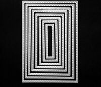 Brand New 8 Stitched Edge Nesting Rectangle Framelit Metal Die Cutter Uk Seller