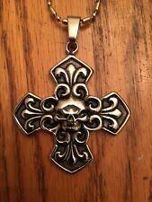 de Lis - Pendant Necklace Cross - Skull & Fleur