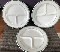 Sterling Vitrified Restaurant Ware Green Stripe Divided Grill Plates Set 3