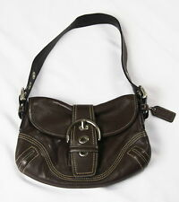 Authentic Coach SOHO Brown Leather Buckle Hobo Handbag Shoulder Bag Purse EUC