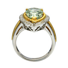 14K WHITE YELLOW TWO TONE GOLD DIAMOND GREEN AMETHYST COCKTAIL ENGAGEMENT RING