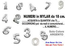 PALLONCINO NUMERO Mylar Foil da 18 cm ARGENTO Componi il tuo numero COMPLEANNO