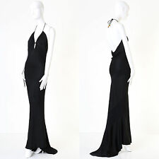 CHRISTIAN DIOR GALLIANO black halter keyhole backless dress gown US8 UK12 FR40 M