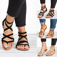 Womens Summer Beach Toe Post Flat Ladies Gladiator Sandals Flip Flops Shoes Size
