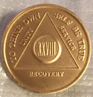 Alcoholics Anonymous 28 Year Recovery Coin Chip Medallion Medal Token AA Bronze
