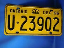 ONTARIO LICENSE PLATE 1966 DECEMBER U 23902 VINTAGE CROWN CANADA CAR SHOP SIGN