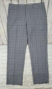 CALLAWAY Plaid Flat Front Golf Pants Stretch Waistband QUIET SHADE MENS SZ 40X34