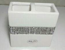 Bella Lux Toothbrush Bathroom Accessory Large White Silver Rhinestones Crystals
