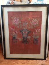 Antique Old Chinese Silk Embroidery Panel Scholars Vase Objects Ruyi Gold Thread