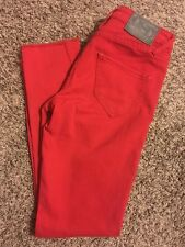 QUIKSILVER Women Crop Jeans Size 24 Red Denim