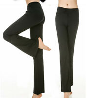 Women's Casual Dance Fitness Pants Elastic High Waist Flared Leg Yoga Trousers