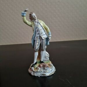 Porzellan Figur -Manufaktur Dresden-Kavalier mit Hund - guter/sehr guter Zustand