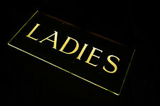 More details for antique art deco illuminated etched glass foyer restroom sign; ladies; c.1925
