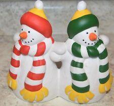 Partylite Retired P0476 Ceramic Snowmen Pillar Candle Holder In Original Box