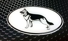 "German Shepherd Sticker White Oval Dog Puppy Domed Vinyl Decal 3D 4.25""x 2.25"""
