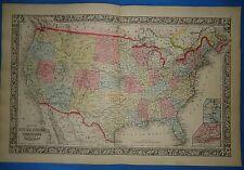 Vintage 1863 Atlas Map ~ UNITED STATES TERRITORIES ~ Old Antique & Original