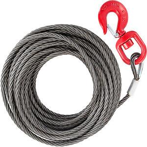 Stahlseil mit Haken und Öse Schlaufe Ösenhaken Draht Seilwinde 10mm*23m