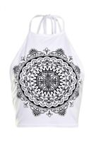 BOOHOO Brand White Ethnic Print Halter Tie Crop Top Size 12 BNWT #ST68