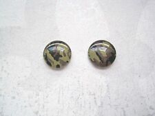ARMY CAMOUFLAGE Print Stud 12mm Silver Plated Pair of Earrings KHAKI GREEN CAMO