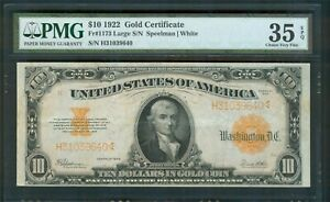 $10 Gold Certificate series 1922, PMG Choice Very Fine 35 EPQ
