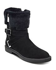 Ivanka Trump Chani 3 Womens Booties, Faux-Fur Zipper Low Flat Boot, Black SZ 8