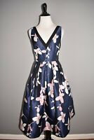 1901 NEW $178 Blue Floral Sleeveless V Neck Fit & Flare Dress Size 2