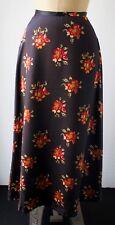 Club Monaco M 100% Silk Charmeuse Long Skirt Black Red Floral Retro Pin up Swing