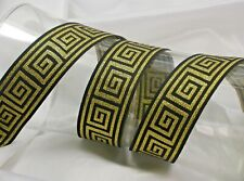 "Greek Key Jacquard Ribbon 1 5/16"" 33mm Metallic woven border per yard & up Color"