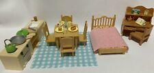 Calico Critters Sylvanian Families Furniture Bed Desk Kitchen Table W 4 Chairs