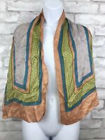 """Vintage Scarf Peach Blue And Green Mod Geometric and Dot Print 13x61"""""""