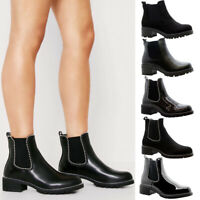 Ladies Winter Ankle Boots Womens Chelsea Block Chunky Heels Grip Sole Shoes Size