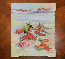 Vintage UNUSED Christmas Card Artist EVE ROCKWELL ICE SKATER ANGEL CRASHING DEER