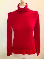 RED 100% cashmere sweater size medium turtleneck crochet unique