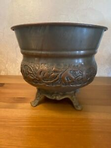 Antique Islamic red copper bowl on stand